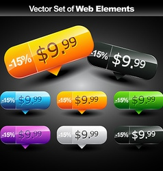 shiny web buttons vector image vector image
