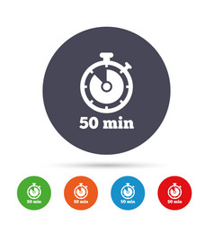 Timer sign icon 50 minutes stopwatch symbol vector