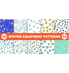 winter lifestyle seamless background with skiing vector image