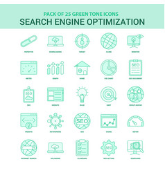25 green search engine optimization icon set vector