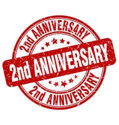2nd anniversary red grunge stamp vector