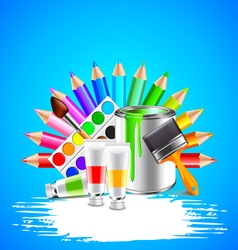 Art tools and white grunge stripe on blue vector image vector image