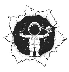 Astronaut welcomes us to space vector