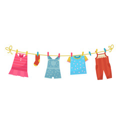 Baby wahed linen on clothesline bright laundry vector