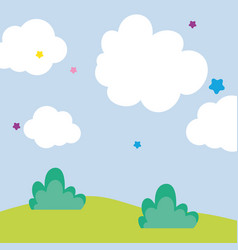 Background landscape clouds sky meadow stars vector
