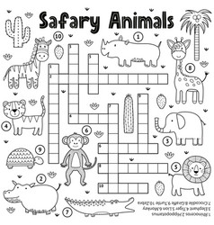 black and white crossword game for kids vector image
