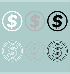 black grey white simbol dollar icon vector image