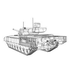 blueprint realistic tank vector image