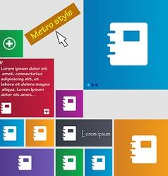 Book icon sign Metro style buttons Modern vector