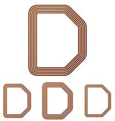 Brown letter d logo design set vector