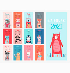 Calendar 2021 monthly calendar with cute animals vector