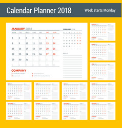 calendar planner design template for 2018 year vector image