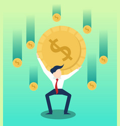 Carrying money businessman with business growth vector