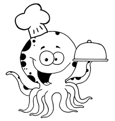 Cartoon octopus chef vector
