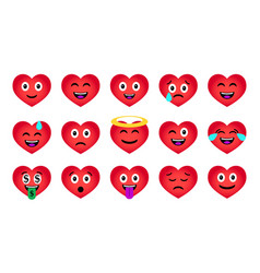 cartoon valentines day heart emoticons set vector image