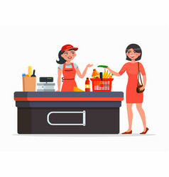 Cashier and buyer at the supermarket flat vector