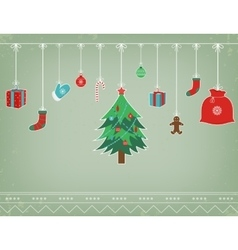 Christmas composition with funny christmas vector image