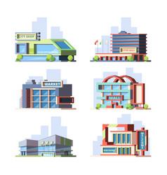 City shops and malls flat set vector
