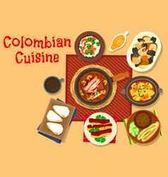 Colombian cuisine dinner dishes icon design vector