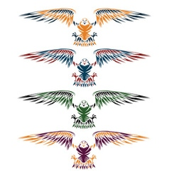 Colourful eagles set design template vector
