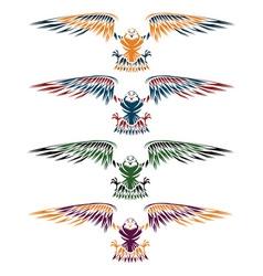 Colourful eagles set design template vector image