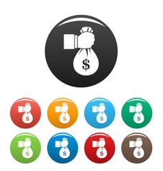 corruption money bag icons set color vector image