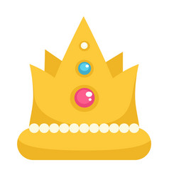 Crown with gemstone and decor royal corona sign vector