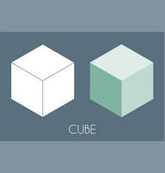 Cube platonic solid sacred geometry vector