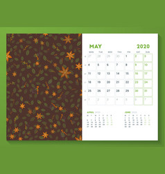 Desk calendar template for may 2020 week starts vector