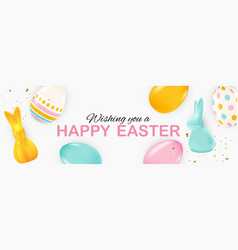 Easter poster template with 3d realistic easter vector