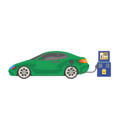 Electrocar battery charging colorful vector