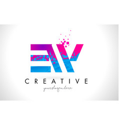 Ew e w letter logo with shattered broken blue vector