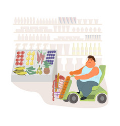 fat disabled man on shopping motorcycle cart vector image