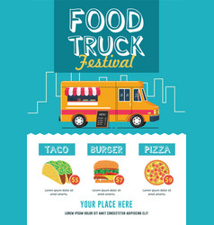 food truck festival flyer template vector image