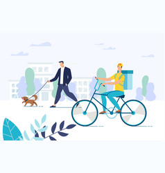 free meal delivery and food courier on bicycle vector image
