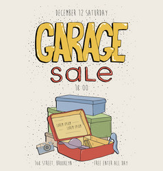Garage sale poster event invitation hand drawn vector