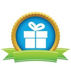 Gold gift logo vector image