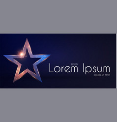 Gold star sign with glitter and light effect win vector