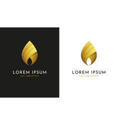 golden fire flame or droplet icon vector image