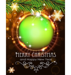 Green Christmas ball with sparkles and fir vector image