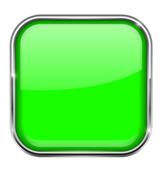 Green square button shiny 3d icon with metal vector
