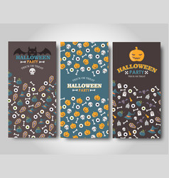 halloween banners set flat halloween vector image