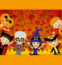 Halloween party and a group of children vector