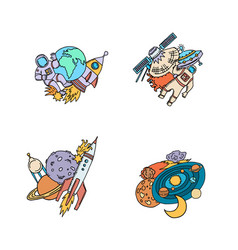 hand drawn space elements planet rocket vector image