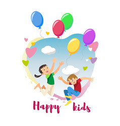 Happy kids rejoice holiday cartoon concept vector