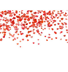 Heart background falling red love hearts confetti vector