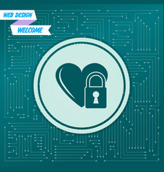 heart lock icon on a green background with arrows vector image
