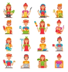 Housewife Flat Color Icons Set vector