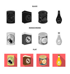 isolated object of can and food icon collection vector image