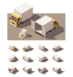Isometric box truck icon set vector